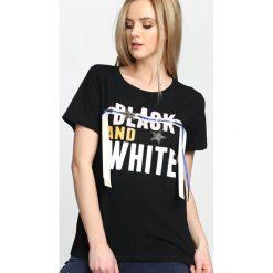Czarny T-shirt And White. Białe t-shirty damskie marki Born2be, l. Za 39,99 zł.