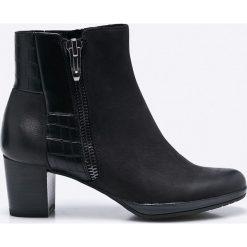 Marco Tozzi - Botki. Czarne buty zimowe damskie marki Marco Tozzi, z materiału, na obcasie. W wyprzedaży za 199,90 zł.