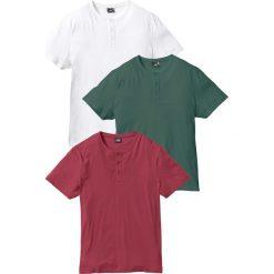 T-shirty męskie: T-shirt (3 szt.) Regular Fit bonprix bordowy + zielony wojskowy + biały