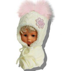 Czapka dziecięca z szalikiem CZ+S 019NC beżowa r. 46-48. Brązowe czapeczki niemowlęce Proman. Za 58,14 zł.