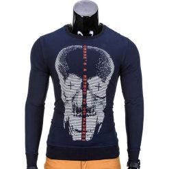 BLUZA MĘSKA BEZ KAPTURA Z NADRUKIEM B674 - GRANATOWA. Niebieskie bluzy męskie rozpinane marki Ombre Clothing, m, z nadrukiem, z bawełny, bez kaptura. Za 39,00 zł.