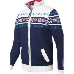"""Sweter rozpinany """"Canadian"""" w kolorze granatowo-białym. Białe golfy męskie Nebulus, m, z dzianiny. W wyprzedaży za 215,95 zł."""