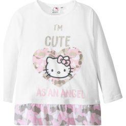 """Bluzki dziewczęce z długim rękawem: Koszulka z długim rękawem i falbaną """"Hello Kitty"""" bonprix biały z nadrukiem"""