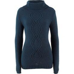 Swetry klasyczne damskie: Sweter z warkoczem bonprix ciemnoniebieski