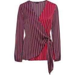 Bluzka z założeniem kopertowym: MUST HAVE bonprix ciemnoniebiesko-czerwony w paski. Niebieskie bluzki z odkrytymi ramionami bonprix, w paski, z kopertowym dekoltem. Za 59,99 zł.