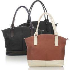 DUŻA SKÓRZANA TOREBKA DAMSKA. Białe torebki klasyczne damskie Abruzzo, w paski, duże. Za 139,00 zł.