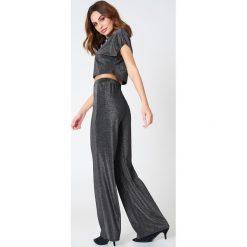 Spodnie damskie: Hannalicious x NA-KD Brokatowe spodnie - Black,Silver