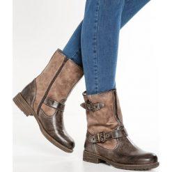 S.Oliver RED LABEL Botki kowbojki i motocyklowe mud. Brązowe buty zimowe damskie marki s.Oliver RED LABEL, z materiału. W wyprzedaży za 173,40 zł.