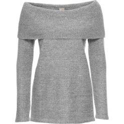 Swetry klasyczne damskie: Sweter z odkrytymi ramionami bonprix jasnoszary melanż