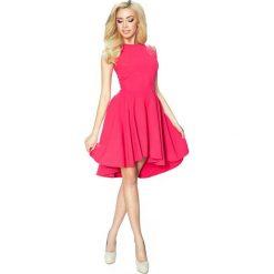 Odzież damska: Koralowa Klasyczna Sukienka bez Rękawów z Szerokim Wydłużonym Dołem