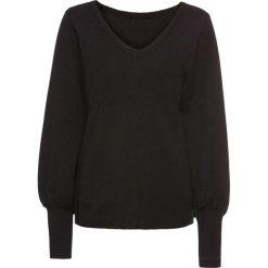 Sweter z balonowymi rękawami bonprix czarny. Czarne swetry klasyczne damskie bonprix, na wiosnę. Za 89,99 zł.