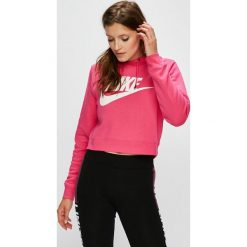 Nike Sportswear - Bluza. Różowe bluzy z kapturem damskie marki Nike Sportswear, l, z nylonu, z okrągłym kołnierzem. Za 219,90 zł.