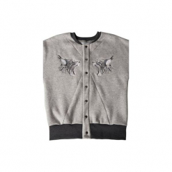 Bluza Ryszard szary rozpinany. Czarne bluzy dresowe męskie marki Cropp, l, z nadrukiem. Za 249,00 zł.