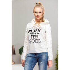 Bluzy damskie: Bluza z kapturem kremowo-srebrna