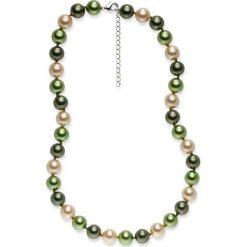 Naszyjniki damskie: Naszyjnik z pereł w kolorze oliwkowo-granatowo-złotym – dł. 43 cm