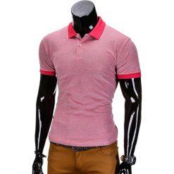 KOSZULKA MĘSKA POLO BEZ NADRUKU S847 - RÓŻOWA. Czerwone koszulki polo marki Ombre Clothing, m, z nadrukiem, z bawełny. Za 35,00 zł.