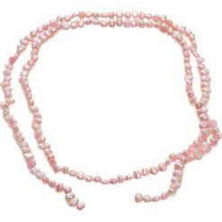 Naszyjniki damskie: Naszyjnik w kolorze różowym z perłami – (D)90 cm