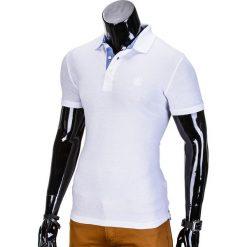 KOSZULKA MĘSKA POLO BEZ NADRUKU S837 - BIAŁA. Białe koszulki polo marki Ombre Clothing, m, z nadrukiem. Za 39,00 zł.