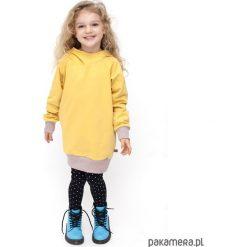 TUNIKA HOODIE - żółta. Żółte sukienki dziewczęce z falbanami Pakamera, z bawełny. Za 95,00 zł.