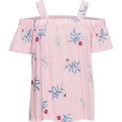 Bluzka w paski, z kwiatowym nadrukiem bonprix biel wełny - jasnoróżowy w paski. Niebieskie bluzki z odkrytymi ramionami marki bonprix, z nadrukiem. Za 79,99 zł.