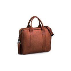 Jasno brązowa męska torba na ramię brodrene bl01, Kolor wnętrza: Czerwony. Brązowe torby na laptopa Brødrene, ze skóry. Za 350,00 zł.