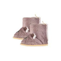 Pink or blue  Buciki zimowe kolor naturalny - beżowy. Brązowe buciki niemowlęce chłopięce pink or blue, na zimę, z materiału. Za 22,00 zł.