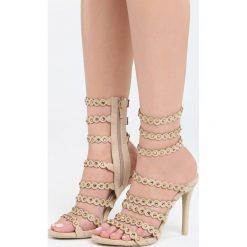 Beżowe Sandały Narcissus. Brązowe sandały damskie marki Born2be, z materiału, na wysokim obcasie, na obcasie. Za 79,99 zł.