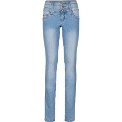 """Dżinsy ze stretchem """"Szczuplejsze brzuch, uda i pośladki"""" SLIM bonprix jasnoniebieski. Niebieskie jeansy damskie marki bonprix, z nadrukiem. Za 99,99 zł."""