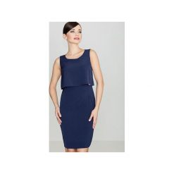 Sukienka K388 Granat. Niebieskie sukienki na komunię marki Lenitif, s, dopasowane. Za 159,00 zł.