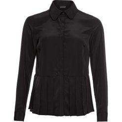 Bluzka satynowa z plisowaną wstawką bonprix czarny. Czarne bluzki wizytowe bonprix, z satyny, eleganckie. Za 99,99 zł.