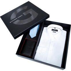 Prezentownik: koszula, krawat i portfel. Białe koszule męskie na spinki marki Giacomo Conti, m, z jedwabiu, z klasycznym kołnierzykiem. Za 399,00 zł.