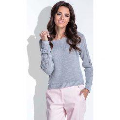 Swetry damskie: Szary Sweter z Ażurowym Wzorem