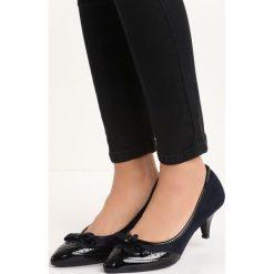 Buty ślubne damskie: Granatowe Czółenka Lorens