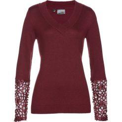 Swetry klasyczne damskie: Sweter z koronką i kaszmirem bonprix czerwony klonowy