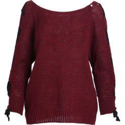 Bordowy Sweter Unit. Czerwone swetry klasyczne damskie marki other, na jesień, uniwersalny. Za 59,99 zł.