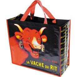 """Torba """"La Vache"""" w kolorze czarno-czerwonym na zakupy - 46 x 40 x 19 cm. Czarne shopper bag damskie Éditions Clouet, z nadrukiem, z tworzywa sztucznego, z nadrukiem. W wyprzedaży za 26,95 zł."""
