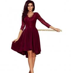 Bordowa Wieczorowa Asymetryczna Sukienka z Koronką. Czerwone sukienki asymetryczne Molly.pl, na imprezę, l, w koronkowe wzory, z koronki, eleganckie, z asymetrycznym kołnierzem, z krótkim rękawem, mini. Za 179,90 zł.