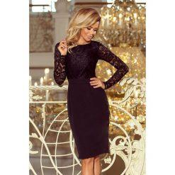 GABI elegancka ołówkowa sukienka z koronką - CZARNA. Czarne sukienki balowe numoco, s, w koronkowe wzory, z koronki, z długim rękawem, ołówkowe. Za 199,99 zł.