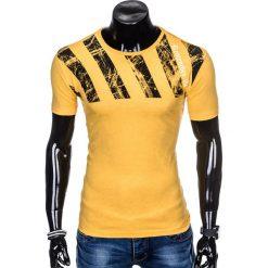 T-SHIRT MĘSKI Z NADRUKIEM S959 - ŻÓŁTY. Żółte t-shirty męskie z nadrukiem Ombre Clothing, m. Za 29,00 zł.