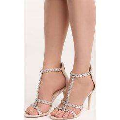 Beżowe Sandały Search&Destroy. Brązowe sandały damskie marki Born2be, w paski, na wysokim obcasie, na szpilce. Za 59,99 zł.