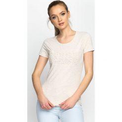 T-shirty damskie: Beżowy T-shirt World Peace