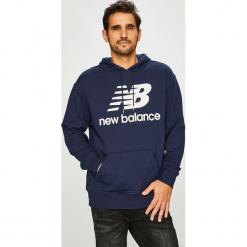 New Balance - Bluza. Czarne bejsbolówki męskie New Balance, l, z nadrukiem, z bawełny, z kapturem. Za 269,90 zł.