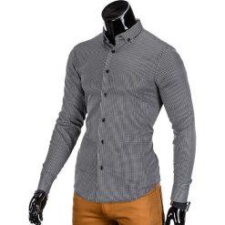KOSZULA MĘSKA ELEGANCKA Z DŁUGIM RĘKAWEM K349 - CZARNA. Brązowe koszule męskie marki Ombre Clothing, m, z aplikacjami, z kontrastowym kołnierzykiem, z długim rękawem. Za 39,00 zł.