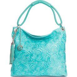 Torebki klasyczne damskie: Skórzana torebka w kolorze turkusowym – 40 x 49 x 14 cm