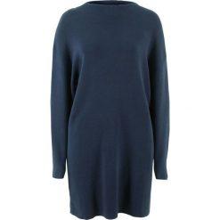 Sukienka dzianinowa ze stójką bonprix ciemnoniebieski. Niebieskie sukienki dzianinowe marki ARTENGO, ze stójką. Za 89,99 zł.