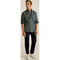 Mango Man - Koszula Roberto. Szare koszule męskie na spinki Mango Man, l, w kratkę, z bawełny, button down, z długim rękawem. Za 139,90 zł.
