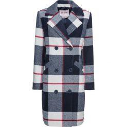 Płaszcze damskie: Płaszcz z domieszką wełny bonprix ciemnoniebiesko-biel wełny w kratę