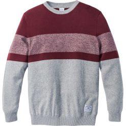 Swetry męskie: Sweter w paski Regular Fit bonprix jasnoszary melanż – bordowy