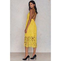 Odzież damska: NA-KD Boho Sukienka z ażurową koronką - Yellow