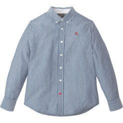 Koszula z długim rękawem w paski bonprix niebiesko-biały w paski. Białe bluzki dziewczęce w paski marki bonprix, z klasycznym kołnierzykiem, z długim rękawem. Za 49,99 zł.